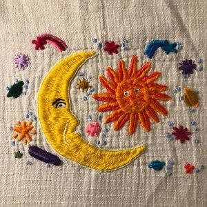 Vintage Embroidered Sun and Moon Sheer Blouse